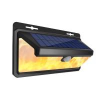 新款太阳能火焰墙壁灯三档省电模式户外防水花园照明带人体感应