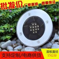 不锈钢LED地埋灯户外地砖防水圆形埋地灯太阳能庭院灯外贸