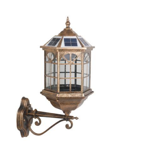 欧式太阳能壁灯别墅太阳能庭院灯防水草坪灯复古太阳能柱头灯批发