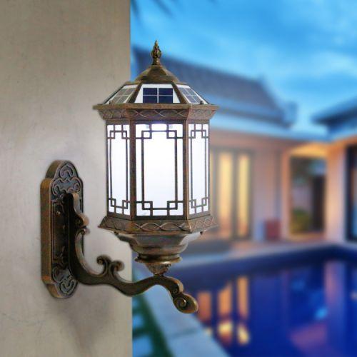 源产地新款全铝太阳能壁灯LED市电两用灯具防水中式户外壁灯批发