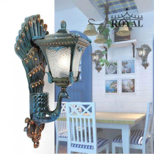 产地货源新款地孔雀壁灯 室内户外防水壁灯 地中海风格个性灯批发