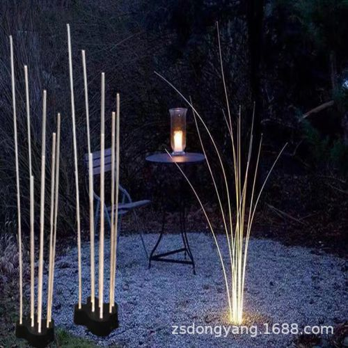LED光纤芦苇灯户外防水景观草坪灯导光亚克力发光仿真植物落地灯