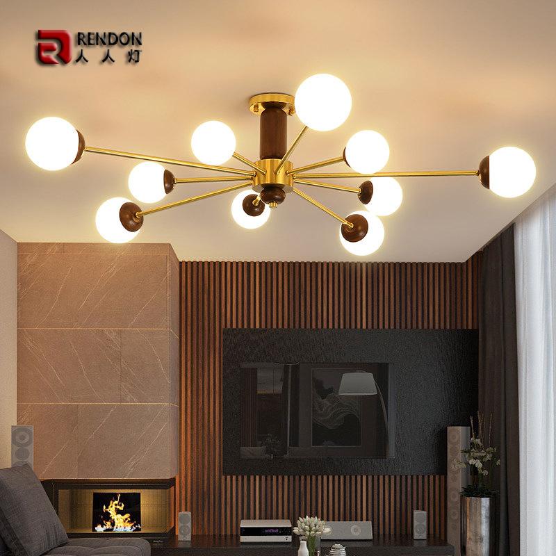 2020新款客厅铜木个性分子吊顶灯大气胡桃木卧室餐厅魔豆LED灯具