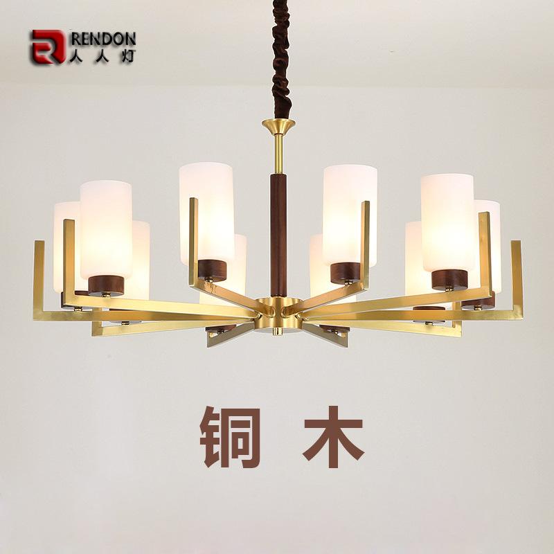 新中式全铜吊灯客厅卧室灯现代简约古典别墅大厅家用美式个性灯具