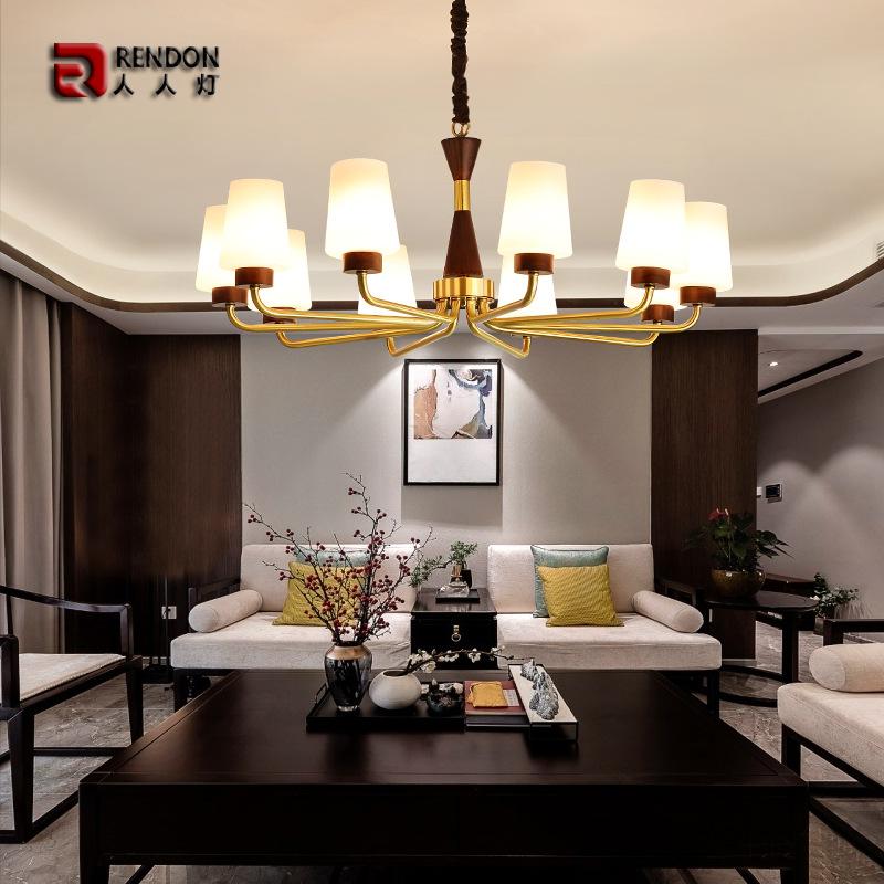 胡桃木现代中式客厅灯个性别墅全铜大厅吊灯大气led主卧室餐厅灯