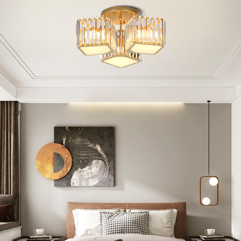 轻奢水晶灯后现代客厅灯大气铁艺吸顶灯简约餐厅圆形卧室灯具灯饰