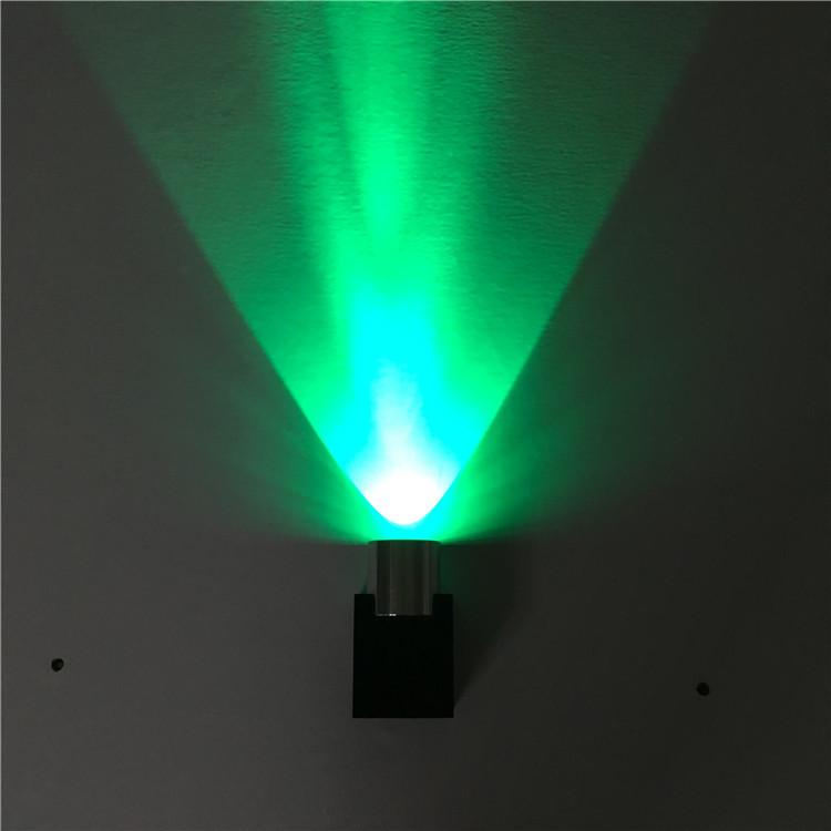 单头铝材创意壁灯1w3w走廊过道背景墙装饰灯酒吧ktv七彩效果灯