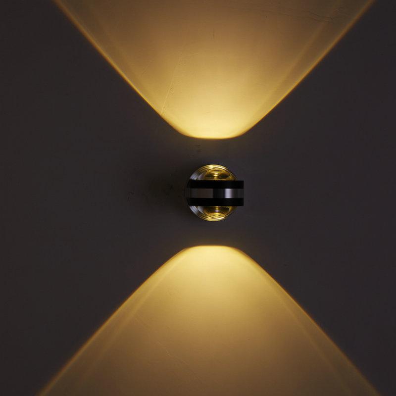 LED创意壁灯双面水晶铝材灯上下出光酒店ktv走廊背景墙装饰灯2w6w