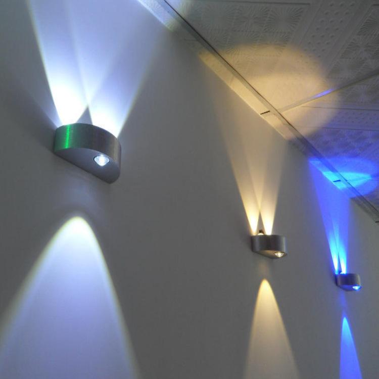 led上下出光创意铝材壁灯半圆光效灯过道背景墙装饰灯3w9w床头灯