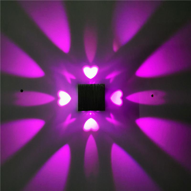 LED爱心壁灯室内创意光效灯正方形走廊过道背景墙装饰灯七彩1w3w