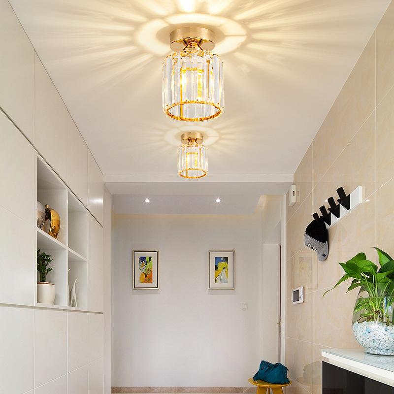 轻奢美式水晶个性过道走廊阳台吸顶灯创意入户门厅玄关装饰照明灯