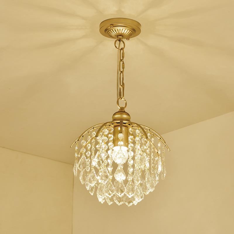 美式田园水晶小吊灯走廊过道饭厅玄关灯饰家居现代简约迷你吸吊灯