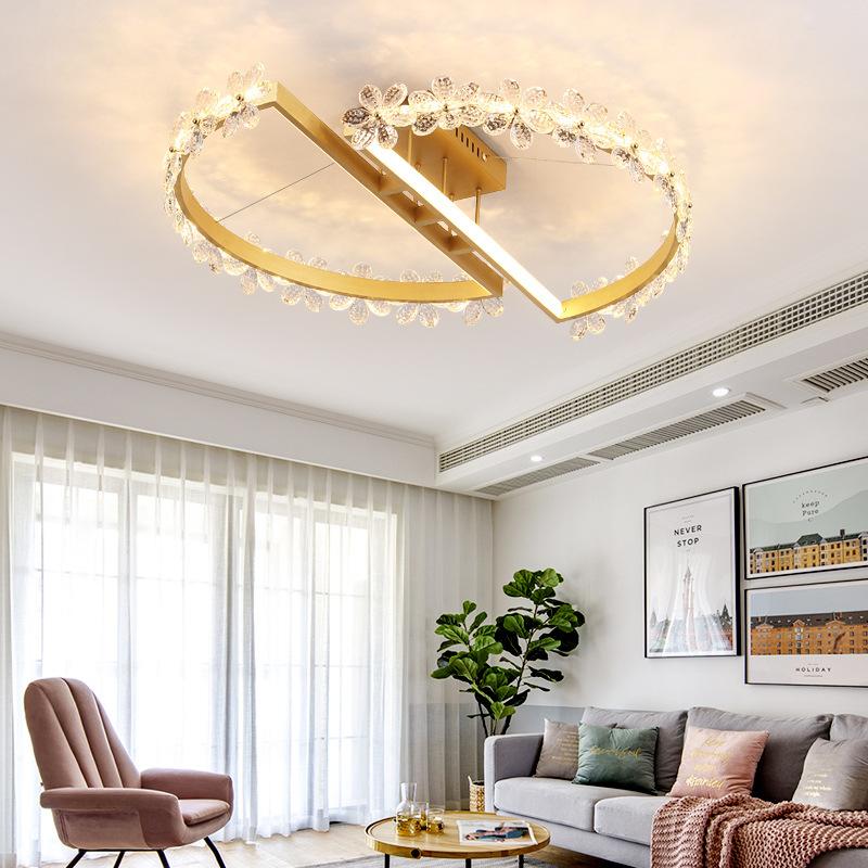 北欧后现代主卧室灯创意花朵水晶灯小客厅餐厅书房轻奢装饰艺术灯