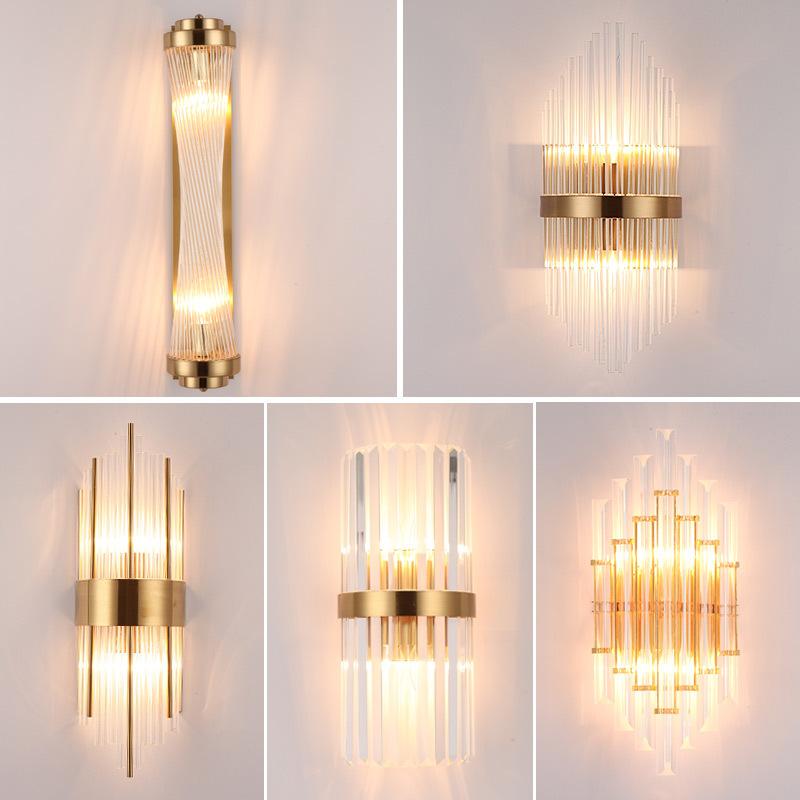 北欧轻奢客厅壁灯后现代电视背景墙灯过道走廊卧室床头水晶灯具