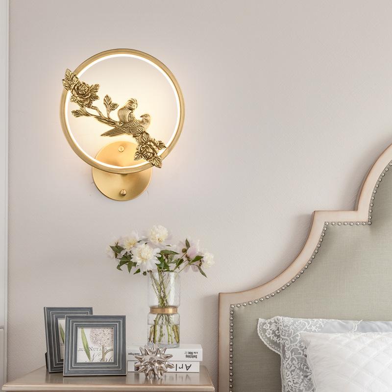 全铜新中式壁灯卧室床头房间装饰led创意高档电视墙壁过道走廊灯
