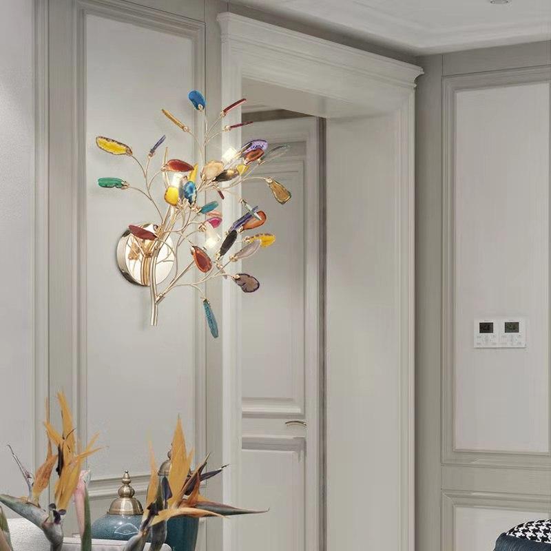 北欧玛瑙壁灯客厅现代简约床头灯卧室样板间轻奢彩色别墅墙壁灯