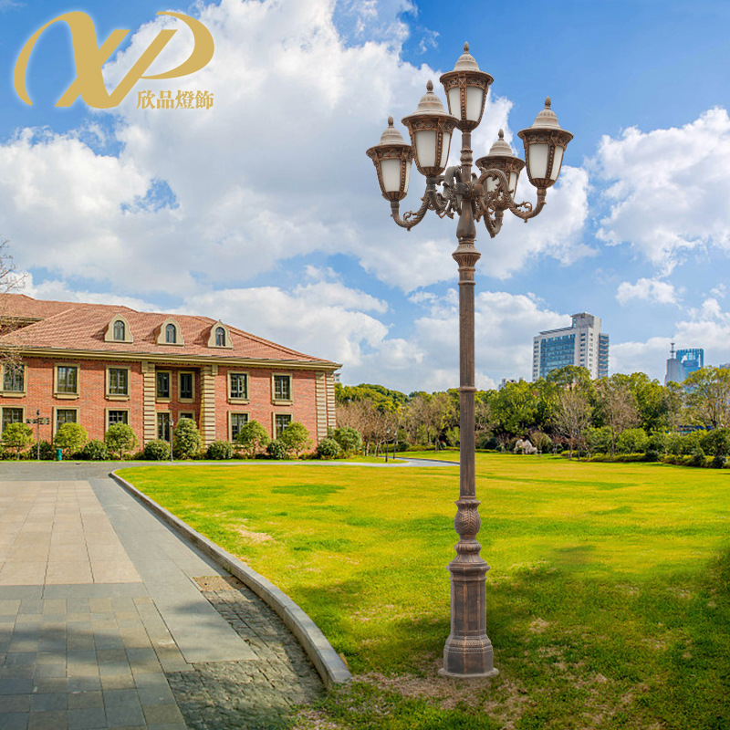 欧式路灯五头户外防水花园灯别墅庭院灯小区道路草坪灯高杆路灯