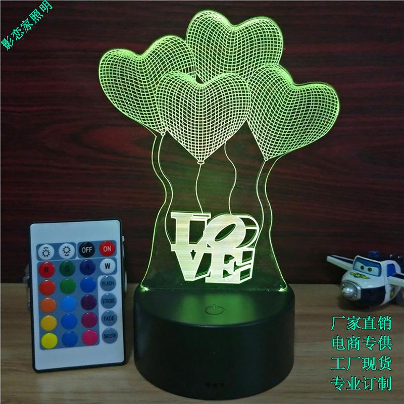 USB触摸七彩3d小夜灯亚克力定制led小台灯创意新奇节日礼物女生