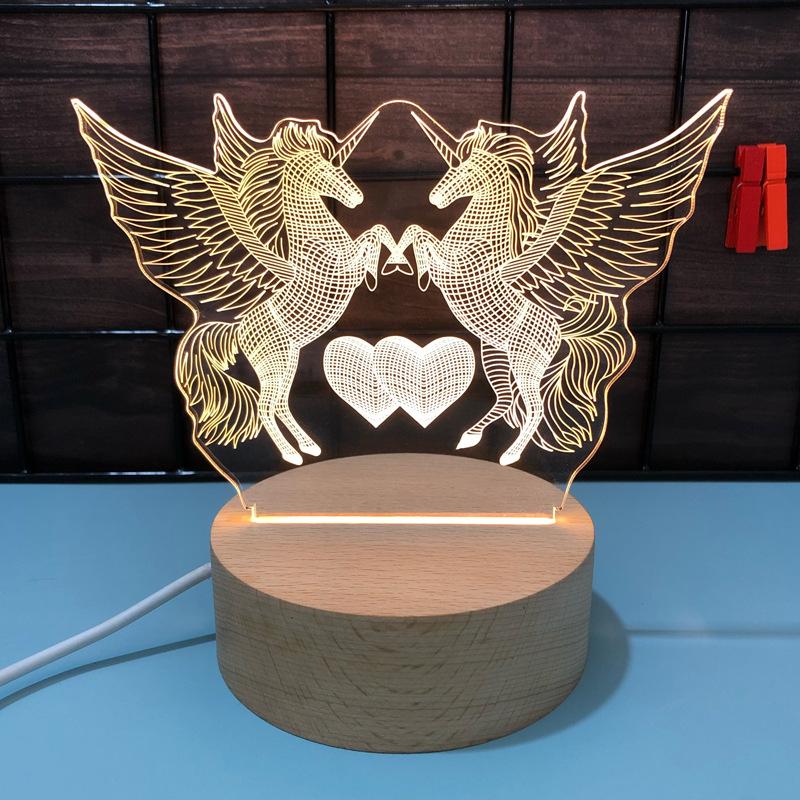 卡通卧室床头灯3d小夜灯创意赠品实用节日礼品logo定制亚克力台灯