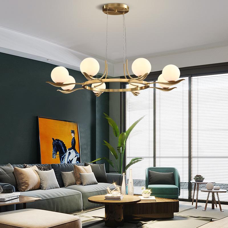 北欧全铜客厅吊灯简约现代餐厅卧室灯创意个性房间吊灯网红灯具