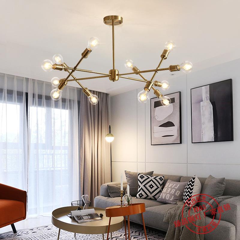 北欧全铜吊灯客厅可调灯具灯饰现代简约餐厅卧室创意LED灯