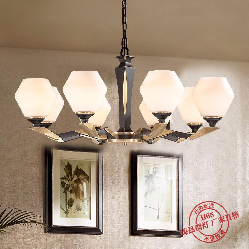 美式吊灯现代简约风格后现代家用客厅灯餐厅灯卧室灯北欧全铜灯具