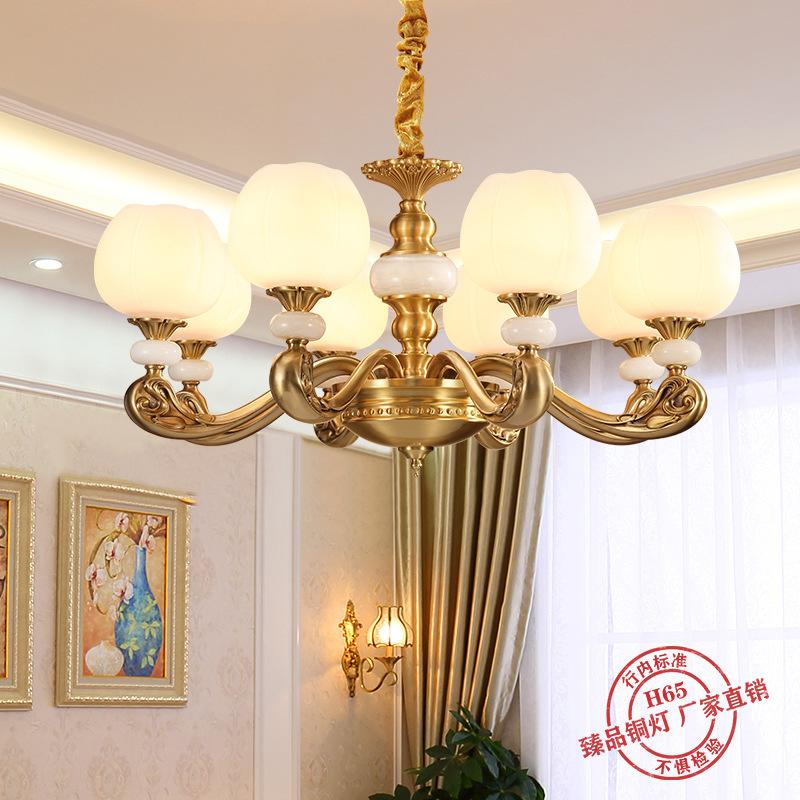 欧式玉石吊灯全铜客厅灯奢华大气别墅大厅高端云石灯卧室餐厅灯具