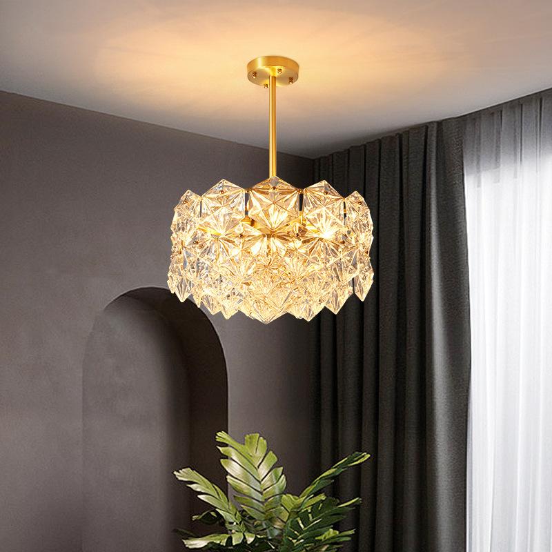 后现代轻奢水晶吊灯全铜客厅灯创意简约餐厅卧室创意美式灯具