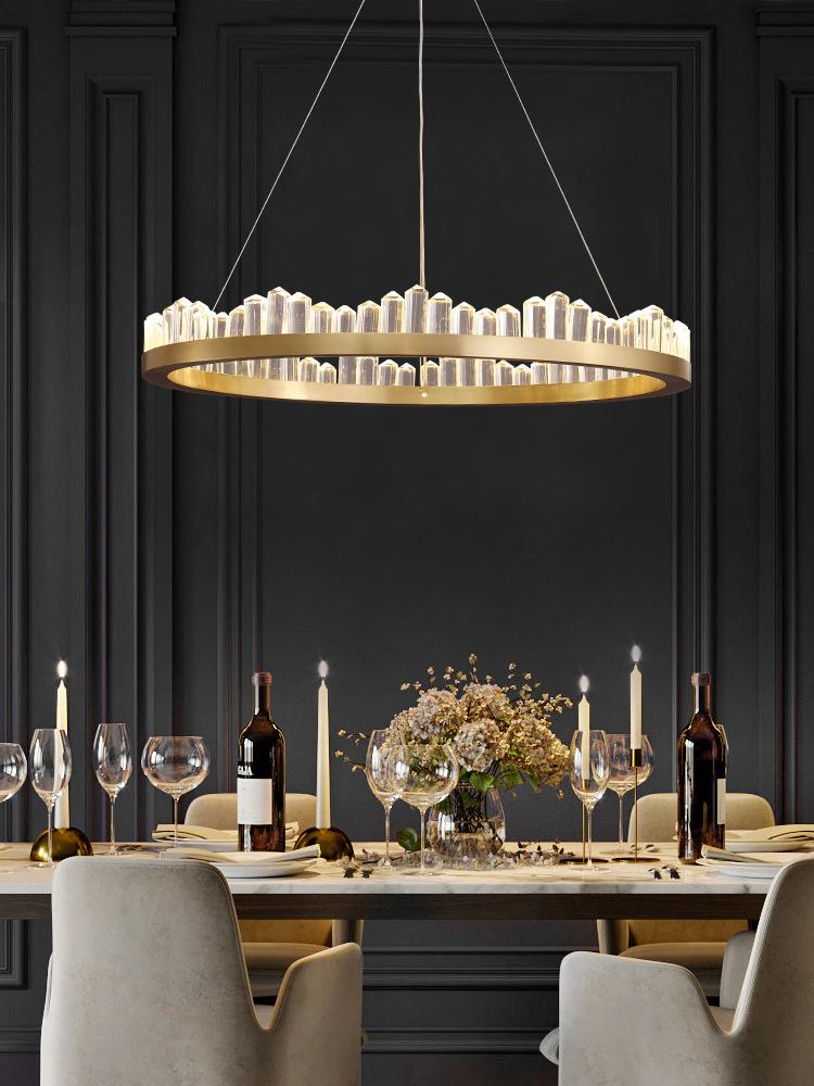 全铜后现代轻奢水晶餐厅吊灯创意个性卧室灯简约北欧灯具