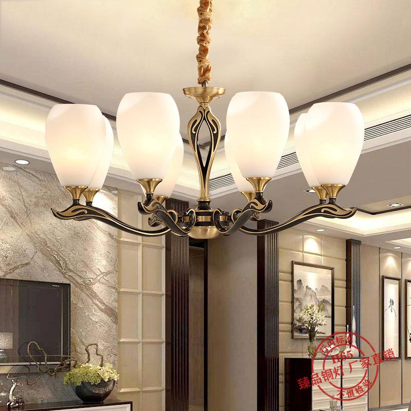 新中式全铜吊灯客厅灯现代简约云石餐厅卧室灯别墅复式楼大厅灯具