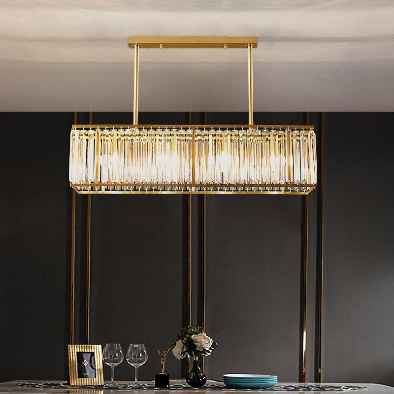 全铜现代轻奢水晶灯餐厅吊灯饭厅客厅餐桌灯长方形灯具简约灯饰
