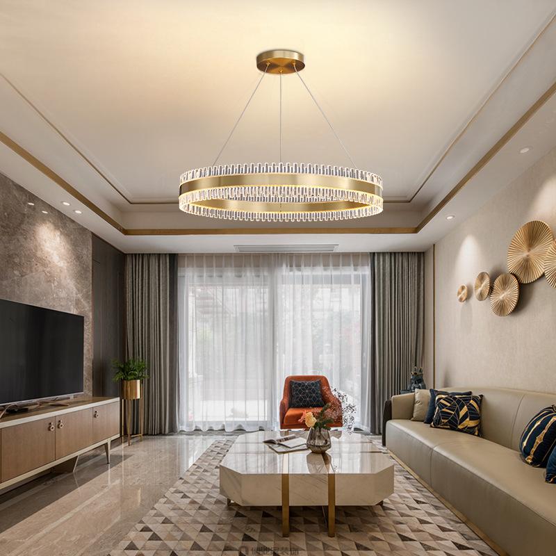现代轻奢吊灯全铜客厅水晶餐厅灯简约创意卧室灯后现代新款灯具