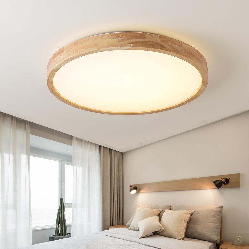北欧超薄led吸顶灯圆形现代简约卧室灯客厅灯阳台原木日式灯具