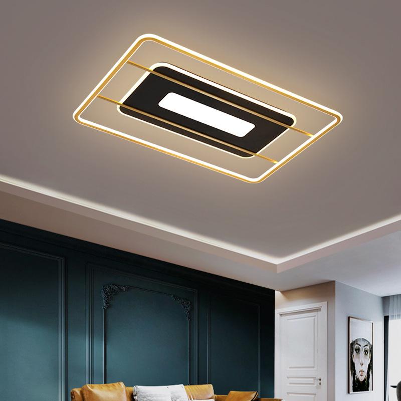 客厅灯北欧简约现代轻奢LED吸顶灯饰大气长方形灯具组合全屋套餐