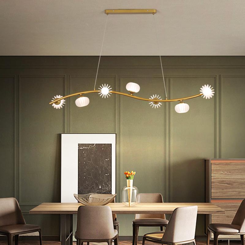 后现代创意款餐厅吊灯长条形led多头花形吊灯个性欧式别墅吊灯