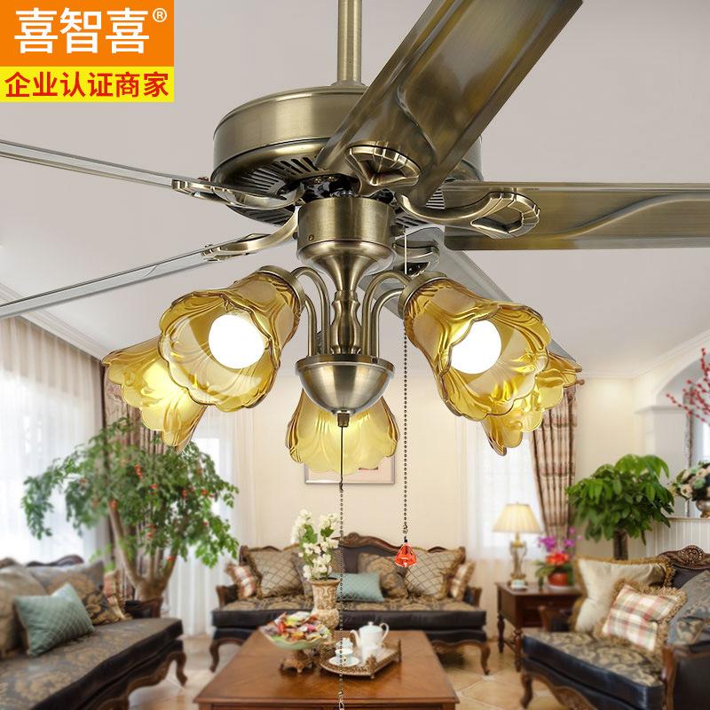 餐厅吊扇灯三头卧室欧式电扇灯客厅复古电扇灯家用简约风扇的吊灯