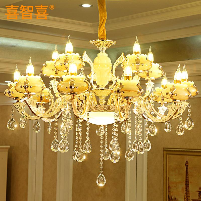 欧式水晶客厅吊灯 锌合金玉石卧室餐厅灯蜡烛灯具