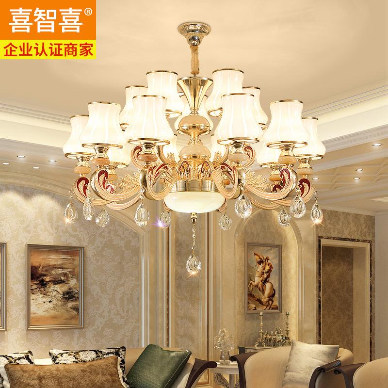 欧式锌合金水晶吊灯简欧客厅餐厅灯奢华大气别墅灯笼灯卧室灯灯具