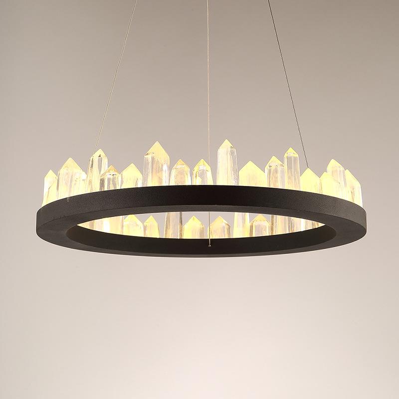 新款后现代创意水晶客厅吊灯 个性简约LED圆形卧室餐厅家居灯饰