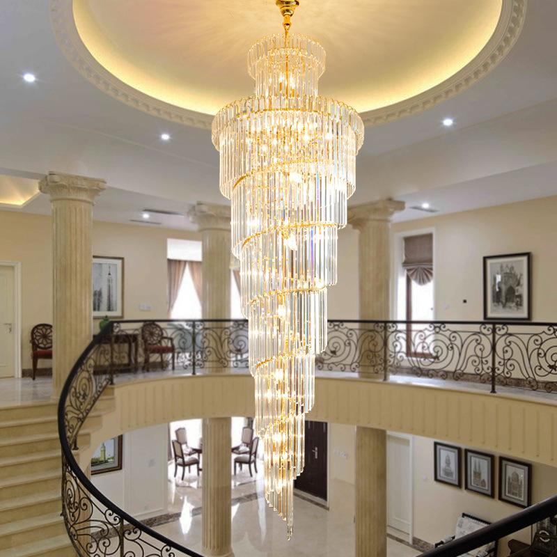 复式楼水晶吊灯大气奢华别墅水晶灯现代简约楼中楼挑空旋转楼梯灯