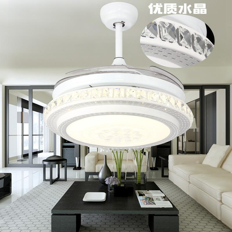 隐形吊扇灯 餐厅风扇灯客厅简约家用卧室带电扇的led水晶风扇吊灯