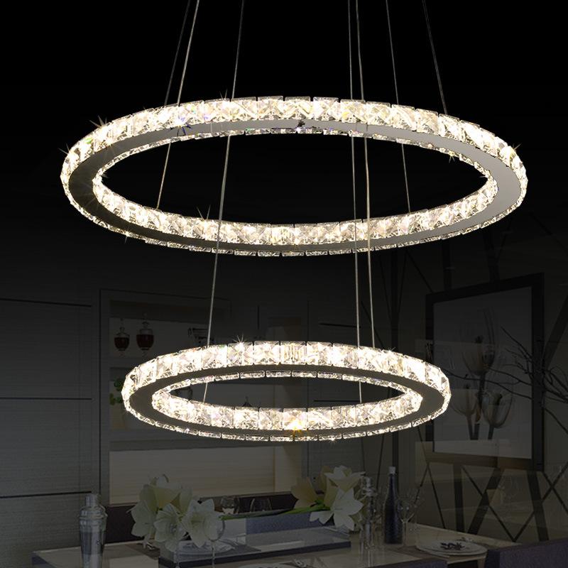 精品椭圆形双环LED水晶吊灯 餐厅吊灯 出口级水晶餐吊灯支持定制