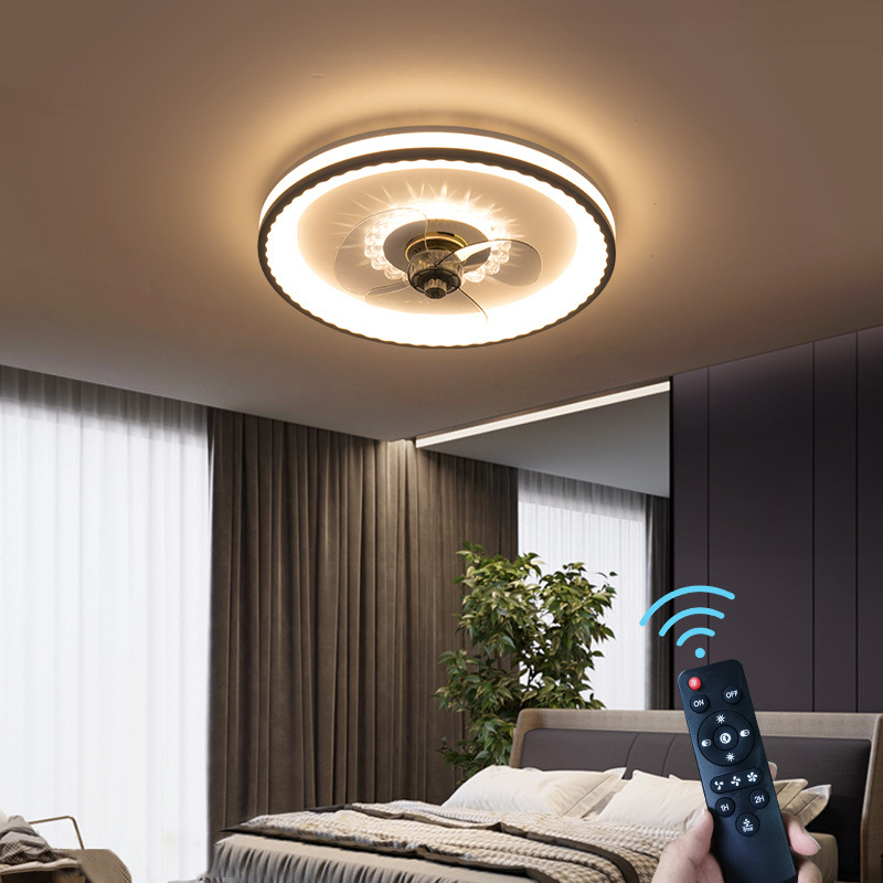 新款吸顶风扇灯 简约客厅餐厅吸顶一体led风扇灯现代卧室灯风扇灯