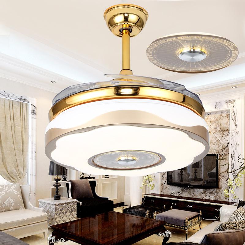 餐厅吊灯带隐形风扇灯简约现代家用客厅电扇灯卧室led风扇吊灯
