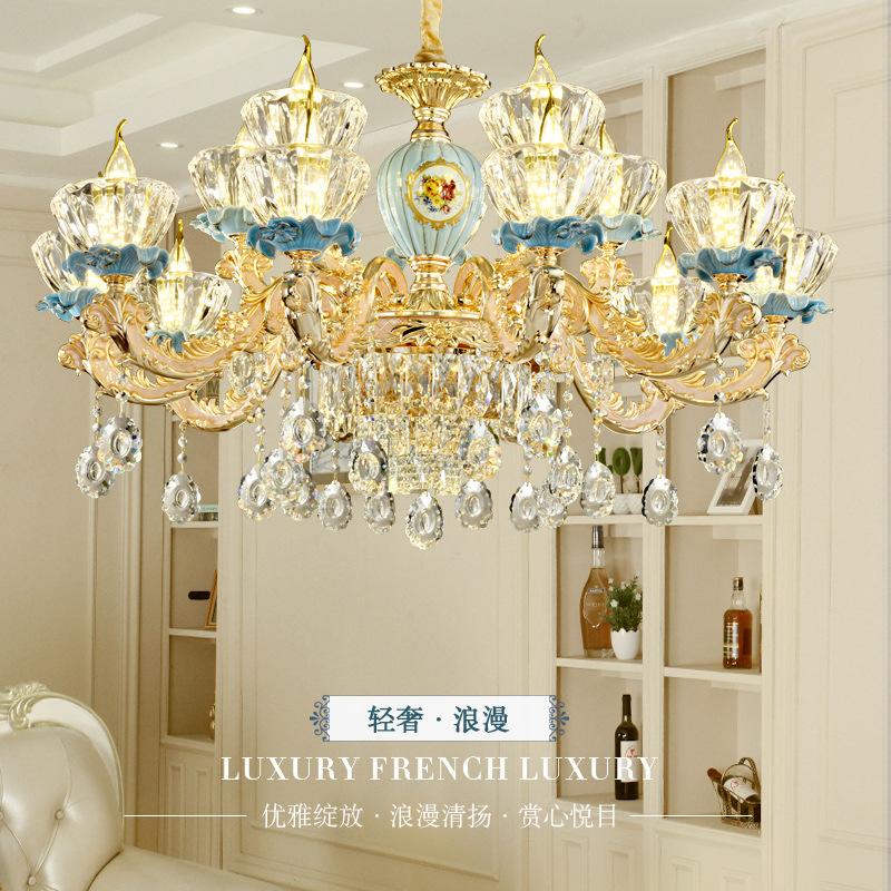 新款欧式水晶客厅吊灯 锌合金卧室餐厅吊灯别墅复式楼LED蜡烛灯具