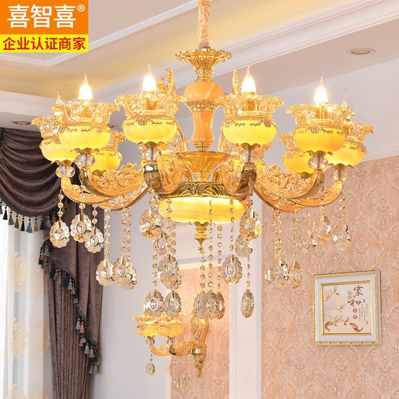 欧式锌合金天然真玉石客厅吊灯蜡烛水晶大气别墅吊灯酒店餐厅灯具