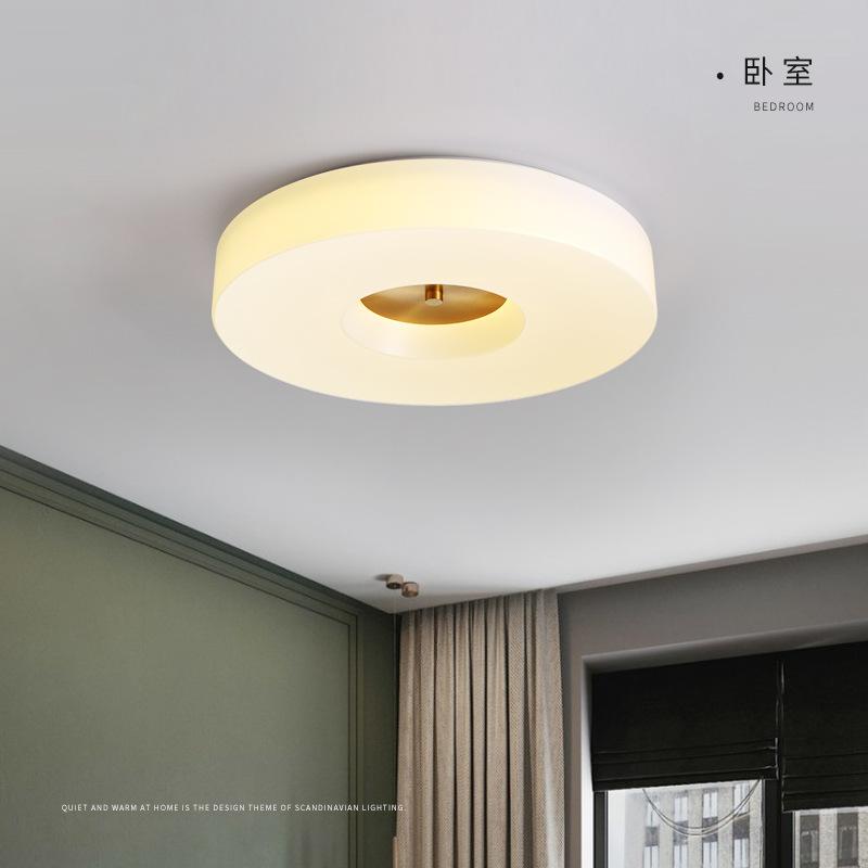 现代简约led吸顶灯全铜圆形卧室灯书房餐厅过道阳台亚克力吸顶灯