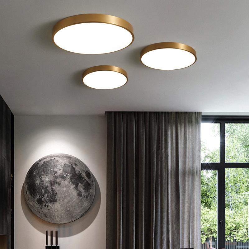 北欧全铜超薄led吸顶灯现代简约卧室灯客厅过道灯玄关圆形阳台灯