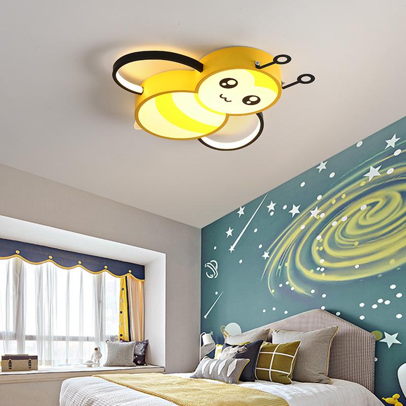 儿童房灯led北欧卧室吸顶灯ins蜜蜂网红创意卡通男孩女孩房间灯具