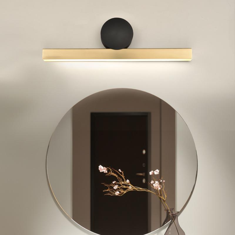 全铜LED镜前灯客厅背景墙壁灯 简约现代卧室床头灯北欧创意过道灯